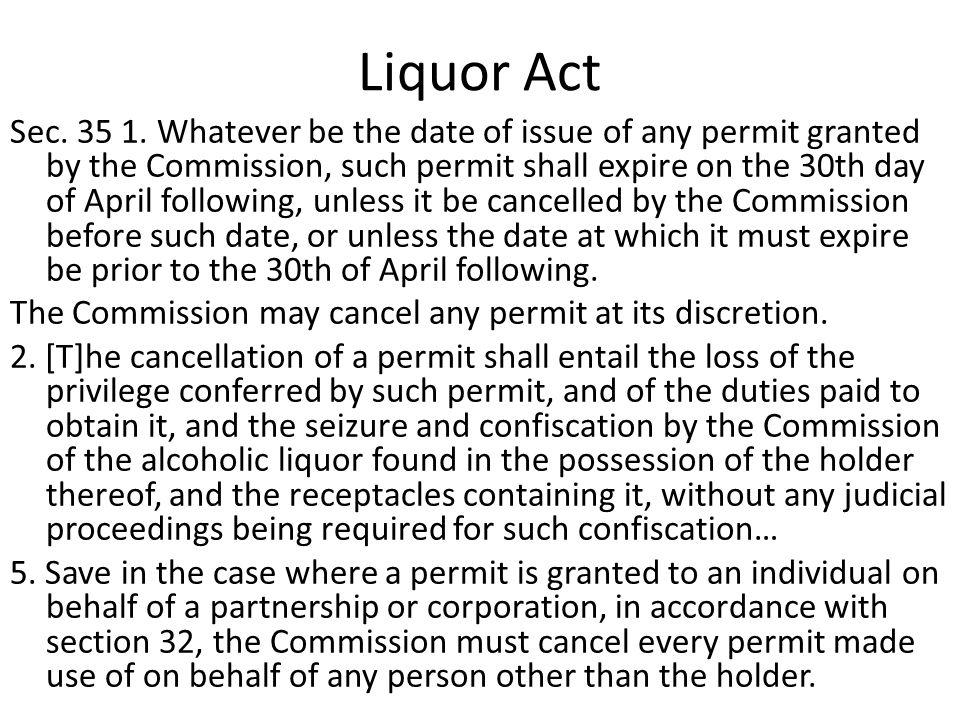 Liquor Act Sec. 35 1.