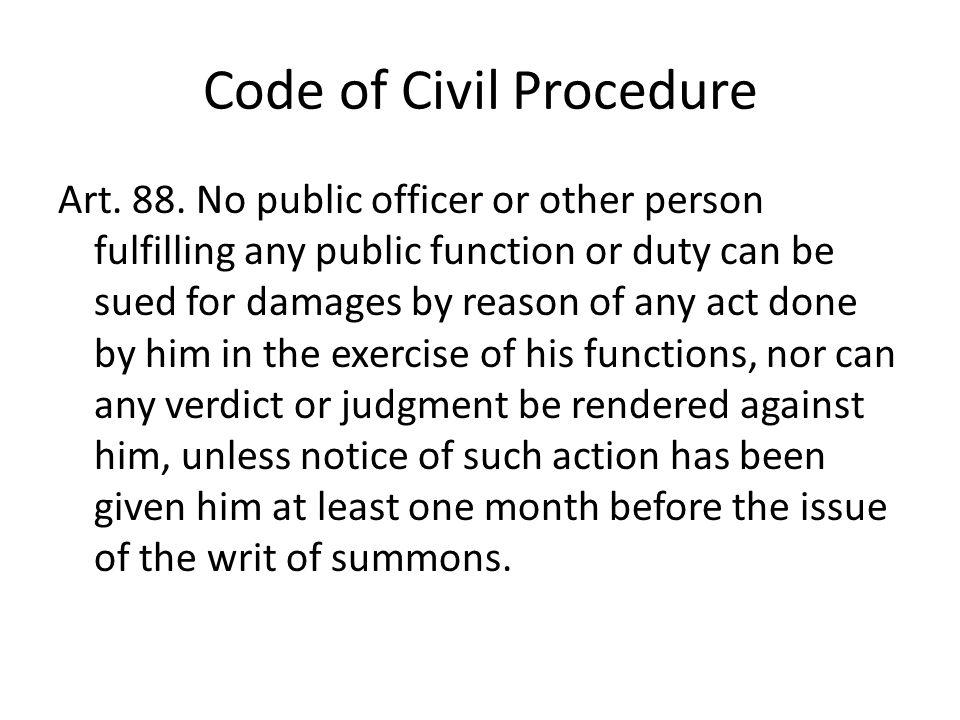 Code of Civil Procedure Art. 88.