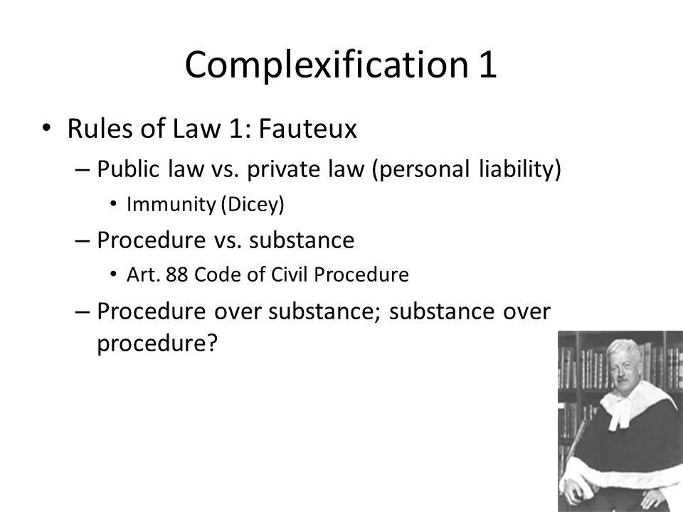 Complexification 1 Rules of Law 1: Fauteux – Public law vs.