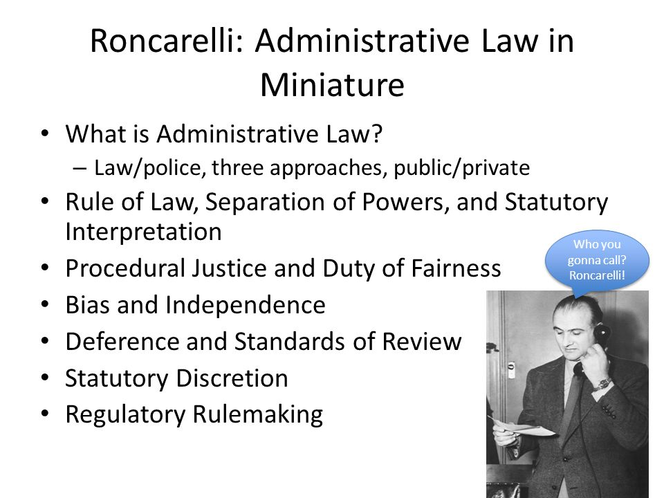 Roncarelli: Administrative Law in Miniature What is Administrative Law.