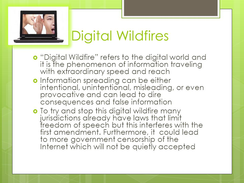 Digital Wildfires  Digital Wildfire refers to the digital world and it is the phenomenon of information traveling with extraordinary speed and reach  Information spreading can be either intentional, unintentional, misleading, or even provocative and can lead to dire consequences and false information  To try and stop this digital wildfire many jurisdictions already have laws that limit freedom of speech but this interferes with the first amendment.