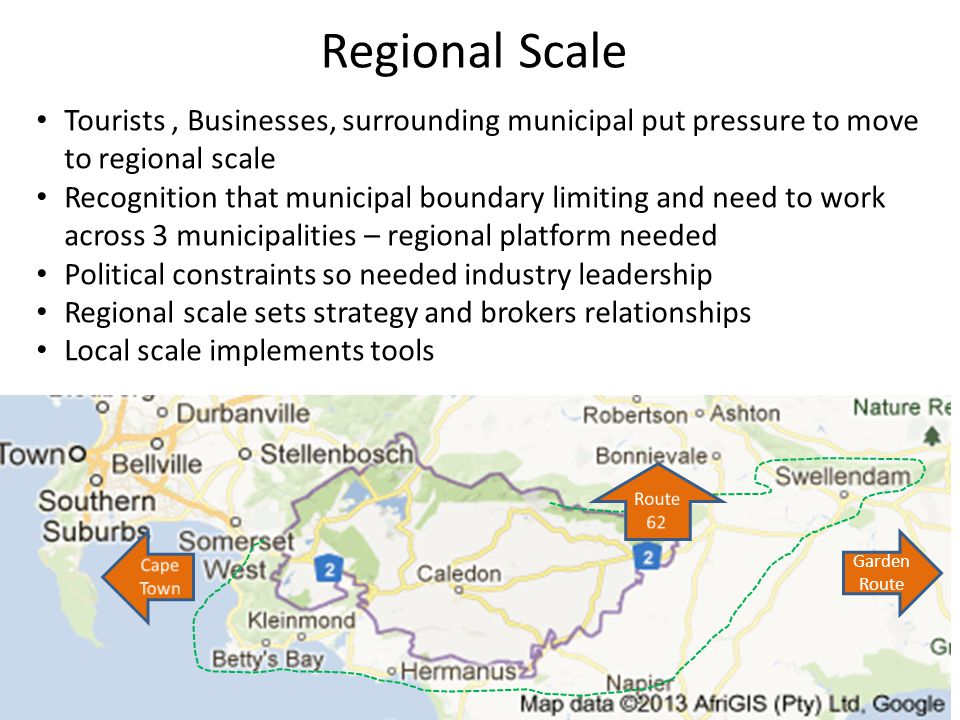 Regional Scale Garden Route Tourists, Businesses, surrounding municipal put pressure to move to regional scale Recognition that municipal boundary limiting and need to work across 3 municipalities – regional platform needed Political constraints so needed industry leadership Regional scale sets strategy and brokers relationships Local scale implements tools