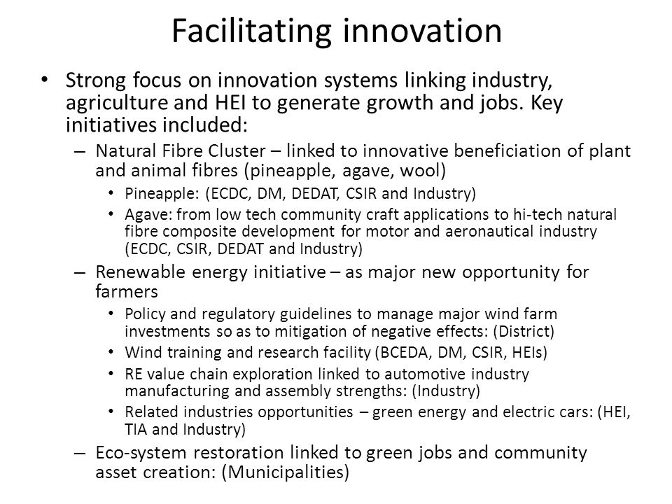 Tools Growth: – Investment promotion – EE: Formalising the innovation system Development: – Natural Fibre sector initiative – Linking SMMEs to new markets Inclusion: – Community Trusts linked to Wind farms – Green jobs