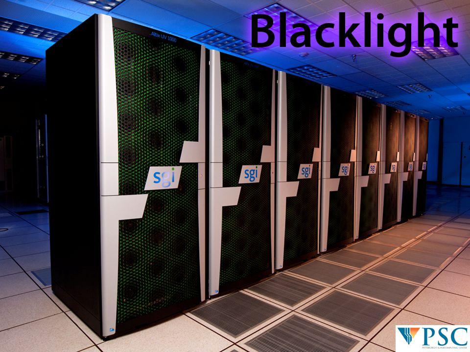 4 © 2010 Pittsburgh Supercomputing Center SG-WG Update | Sanielevici | March 18, 2011 PSC's Blacklight (SGI Altix ® UV 1000) Programmability + Hardware Acceleration → Productivity 2×16 TB of cache-coherent shared memory –hardware coherency unit: 1 cache line (64B) –16 TB exploits the processor's full 44-bit physical address space –ideal for fine-grained shared memory applications, e.g.