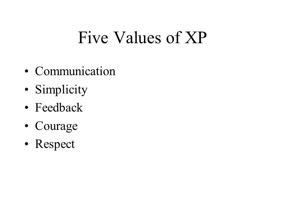 Five Values of XP Communication Simplicity Feedback Courage Respect