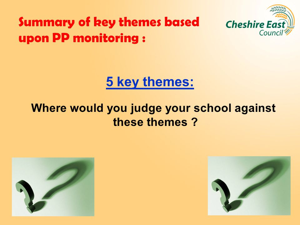 Summary of key themes based upon PP monitoring : 5 key themes: Where would you judge your school against these themes ?