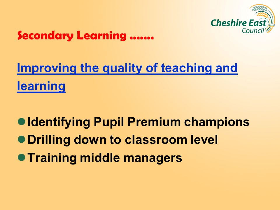 Secondary Learning....... Improving the quality of teaching and learning Identifying Pupil Premium champions Drilling down to classroom level Training