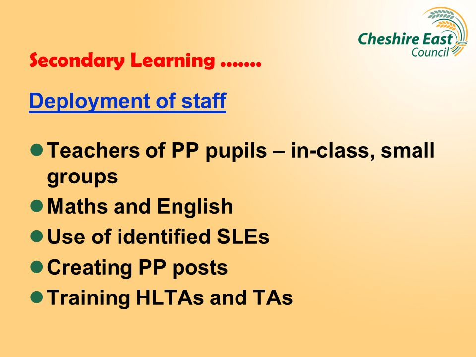 Secondary Learning.......