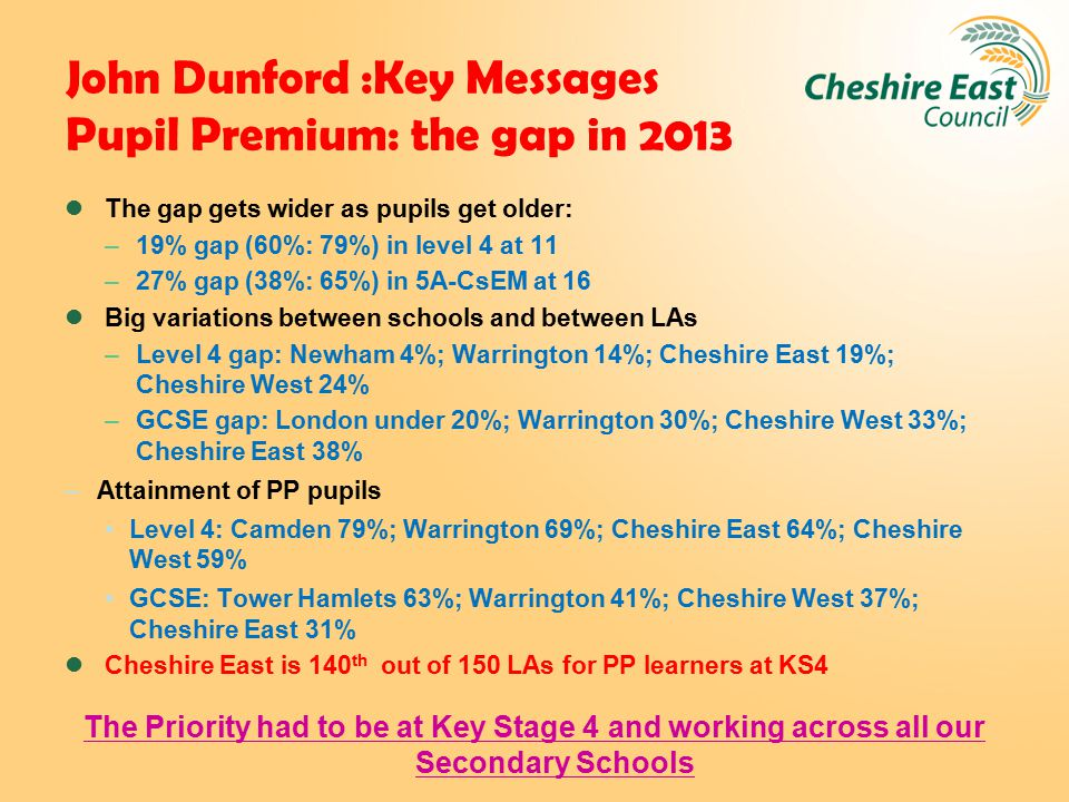 John Dunford :Key Messages Pupil Premium: the gap in 2013 The gap gets wider as pupils get older: –19% gap (60%: 79%) in level 4 at 11 –27% gap (38%: 65%) in 5A-CsEM at 16 Big variations between schools and between LAs –Level 4 gap: Newham 4%; Warrington 14%; Cheshire East 19%; Cheshire West 24% –GCSE gap: London under 20%; Warrington 30%; Cheshire West 33%; Cheshire East 38% –Attainment of PP pupils Level 4: Camden 79%; Warrington 69%; Cheshire East 64%; Cheshire West 59% GCSE: Tower Hamlets 63%; Warrington 41%; Cheshire West 37%; Cheshire East 31% Cheshire East is 140 th out of 150 LAs for PP learners at KS4 The Priority had to be at Key Stage 4 and working across all our Secondary Schools