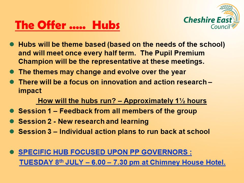 The Offer..... Hubs Hubs will be theme based (based on the needs of the school) and will meet once every half term. The Pupil Premium Champion will be