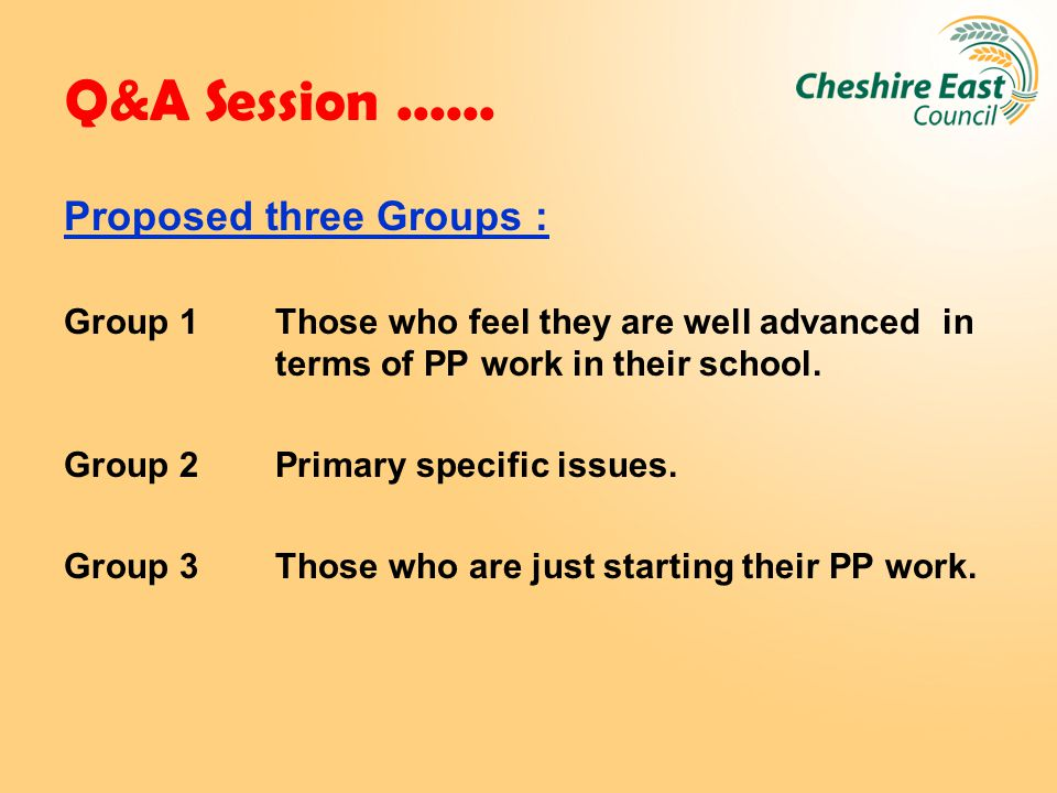 Q&A Session...... Proposed three Groups : Group 1 Those who feel they are well advanced in terms of PP work in their school. Group 2 Primary specific