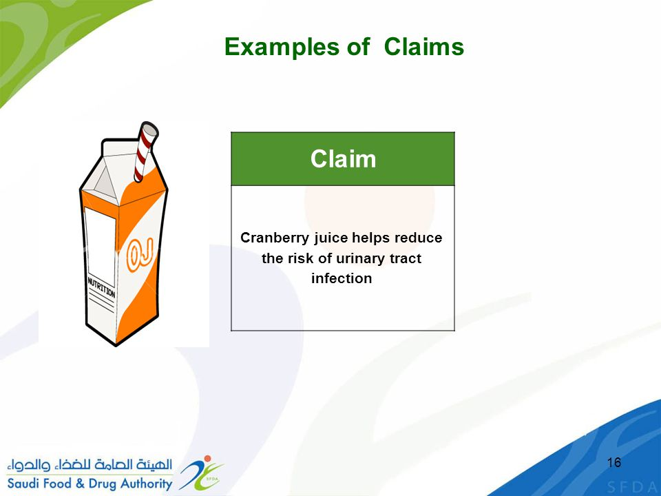 16 Claim Cranberry juice helps reduce the risk of urinary tract infection Examples of Claims