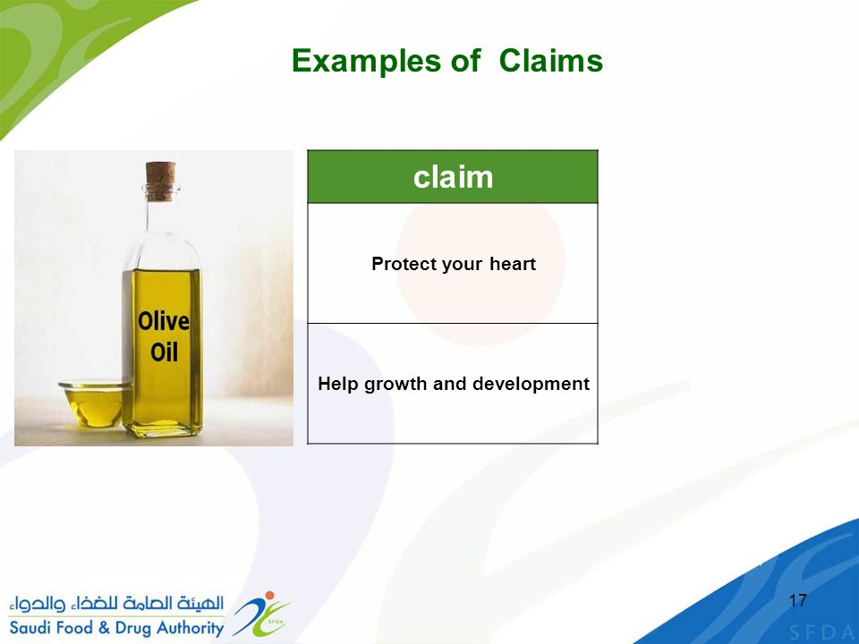17 claim Protect your heart Help growth and development Examples of Claims