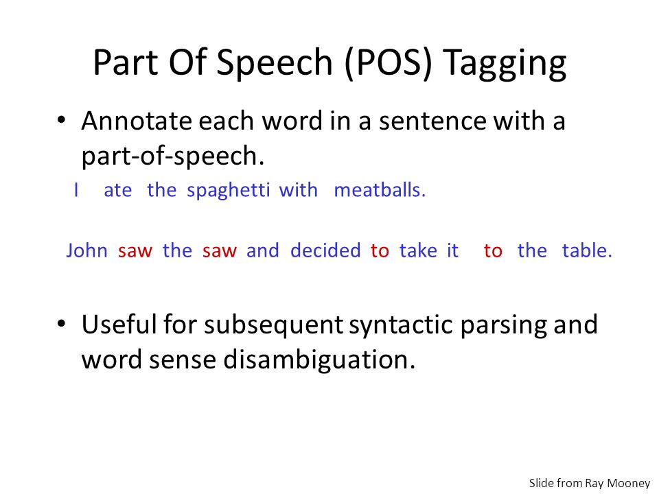 Part Of Speech (POS) Tagging Annotate each word in a sentence with a part-of-speech.