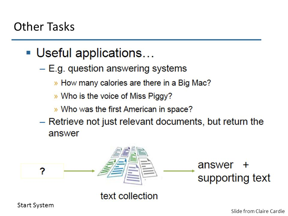 Slide from Claire Cardie Start System Other Tasks
