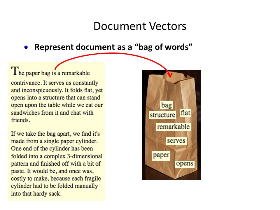  Represent document as a bag of words