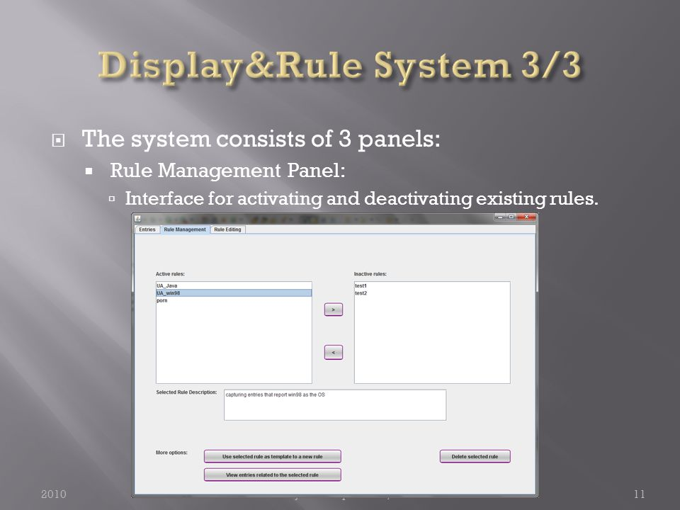  The system consists of 3 panels:  Rule Management Panel:  Interface for activating and deactivating existing rules.