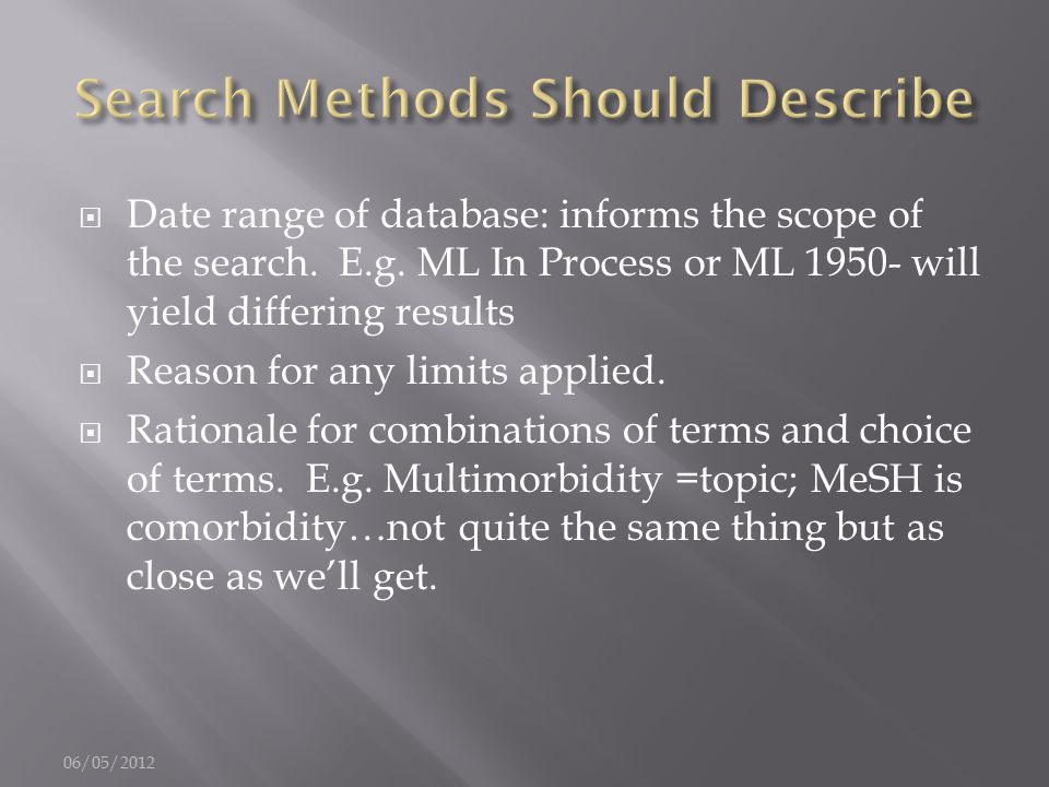  Date range of database: informs the scope of the search.