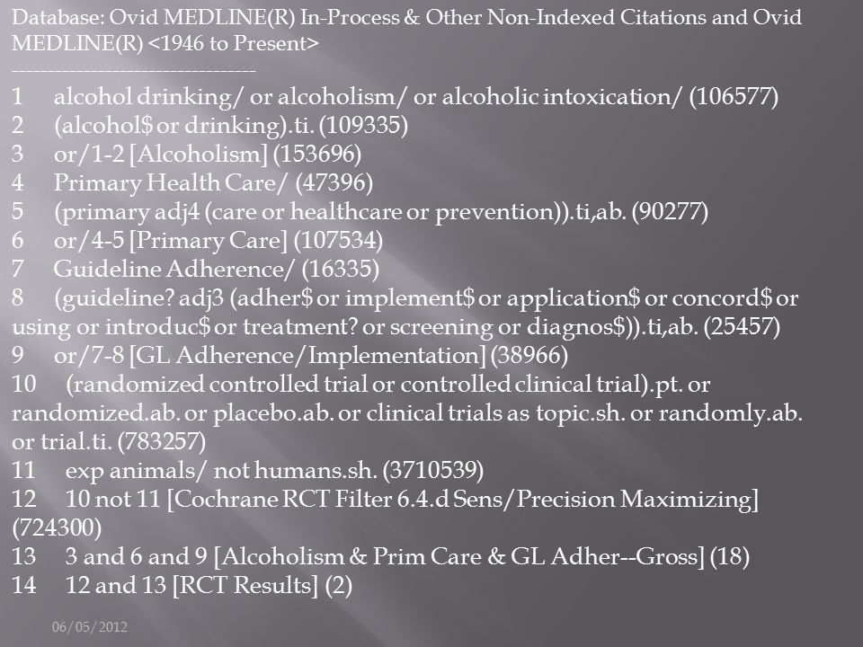 06/05/2012 Database: Ovid MEDLINE(R) In-Process & Other Non-Indexed Citations and Ovid MEDLINE(R) ---------------------------------- 1 alcohol drinkin