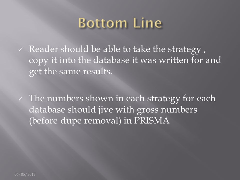 Reader should be able to take the strategy, copy it into the database it was written for and get the same results. The numbers shown in each strategy