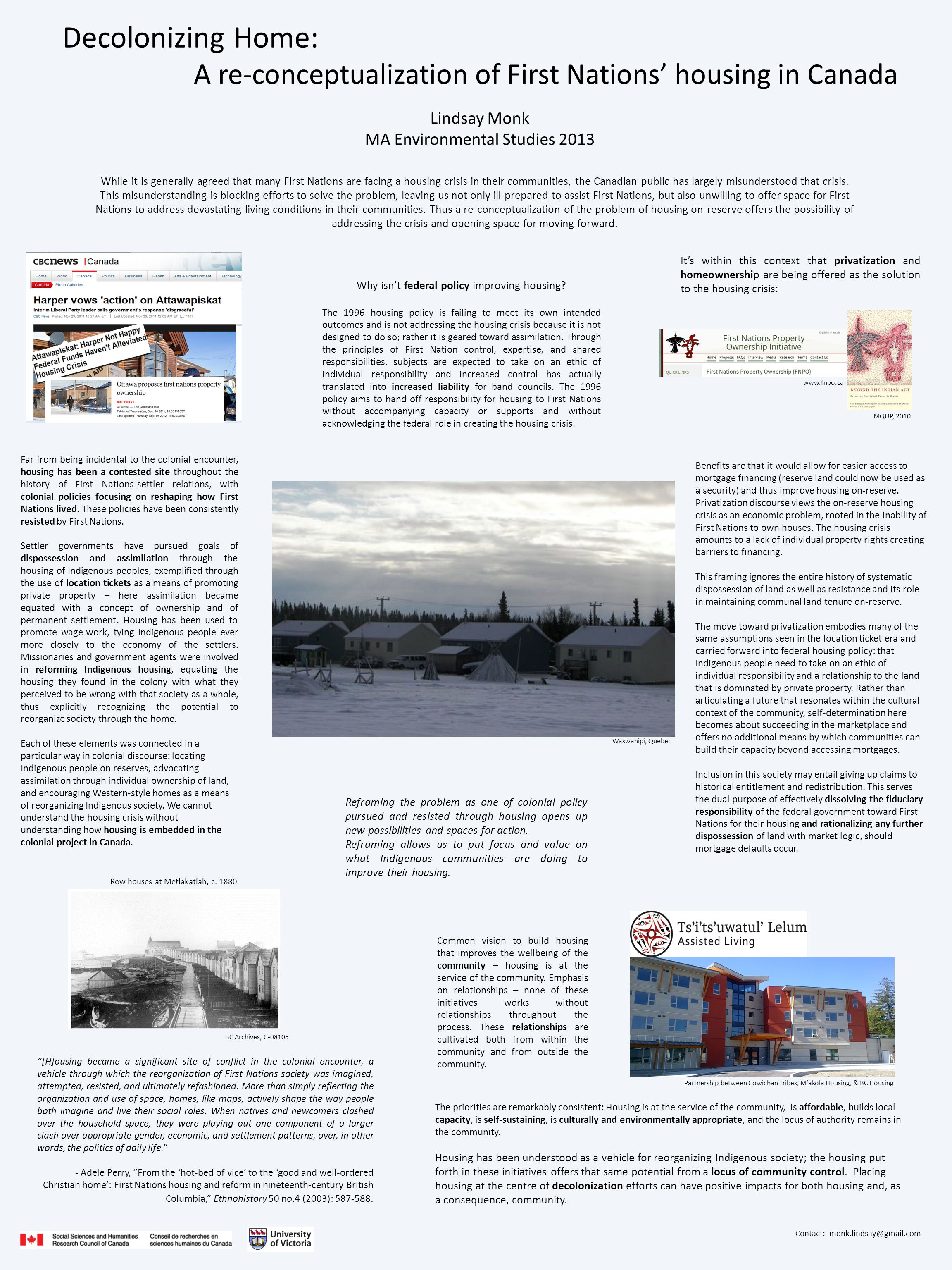Decolonizing Home: A re-conceptualization of First Nations' housing in Canada Row houses at Metlakatlah, c.