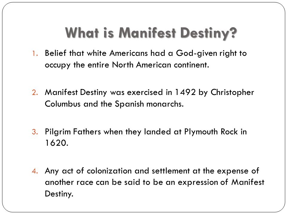Unit 9, Journal #1 Manifest destiny is the idea that it was the United States' destiny to expand westward across the continent all the way to the Pacific Ocean.