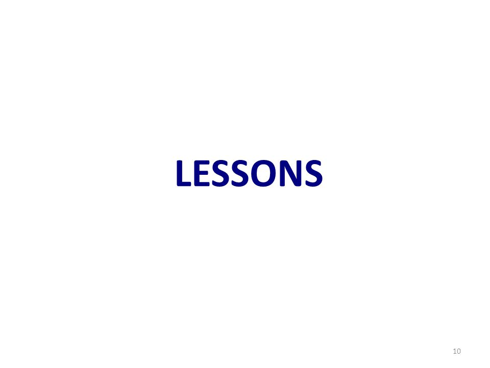 LESSONS 10