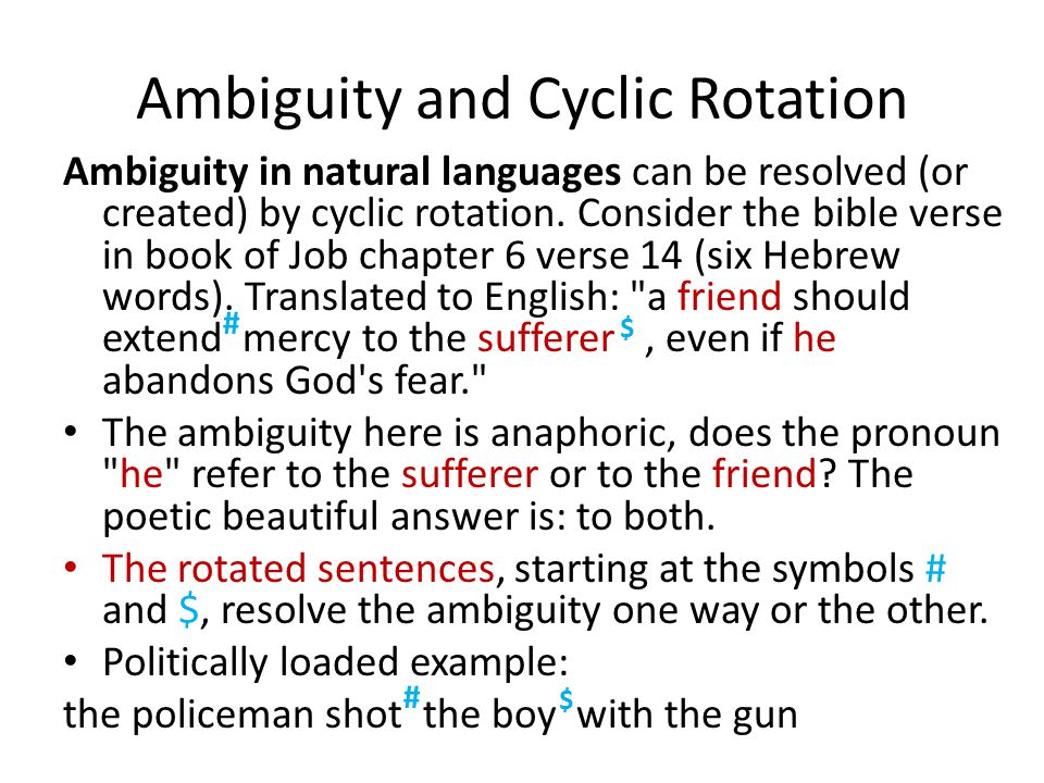 Ambiguity and Cyclic Rotation Ambiguity in natural languages can be resolved (or created) by cyclic rotation.