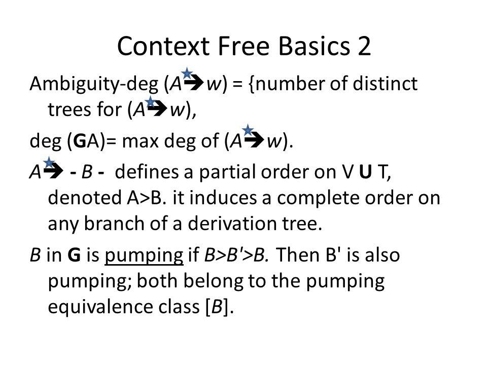 Node Type and Spread Lemma (i)B Pumping, (ii) C pre-terminal – if NOT {C > B, B pumping} (iii) D spread – D is not pumping but D>B, B pumping.