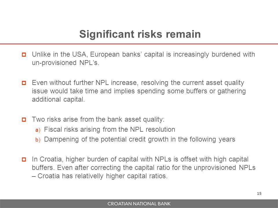 Significant risks remain  Unlike in the USA, European banks' capital is increasingly burdened with un-provisioned NPL's.  Even without further NPL i