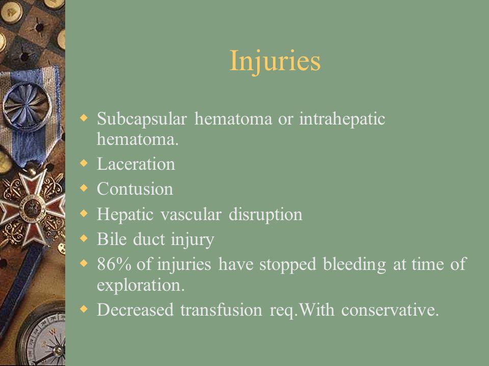 Injuries  Subcapsular hematoma or intrahepatic hematoma.
