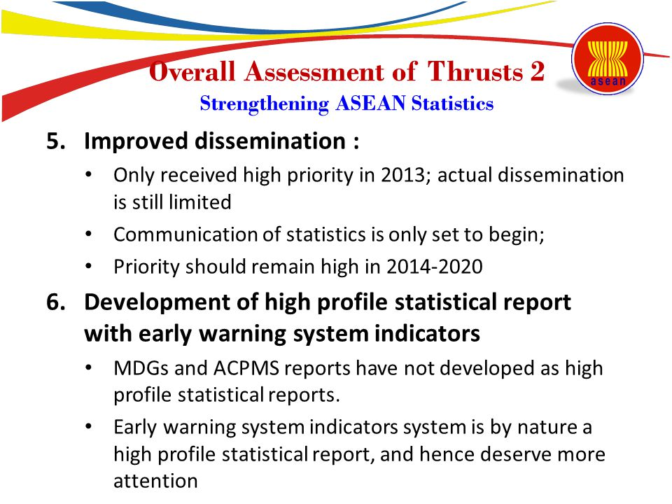 5.Improved dissemination : Only received high priority in 2013; actual dissemination is still limited Communication of statistics is only set to begin