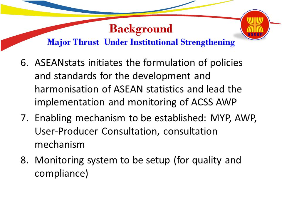 Overall Assessment of Thrusts 3 Narrowing Development Gaps 1.Proactive coordination and facilitation : Little has been done at the regional level, although bilateral assistance within AMSs are also observed To ensure sustainability, mechanisms need to be developed and facilitated to enhance ASEAN-help-ASEAN mechanism 2.Assistance to AMSs in various forms So far, assistance was only through existing projects A mechanism may need to be developed to facilitate country(s) initiatives to address common challenges they observed