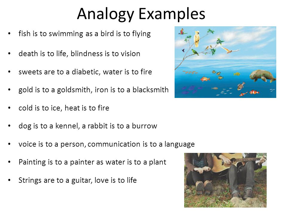 Analogy Examples fish is to swimming as a bird is to flying death is to life, blindness is to vision sweets are to a diabetic, water is to fire gold is to a goldsmith, iron is to a blacksmith cold is to ice, heat is to fire dog is to a kennel, a rabbit is to a burrow voice is to a person, communication is to a language Painting is to a painter as water is to a plant Strings are to a guitar, love is to life