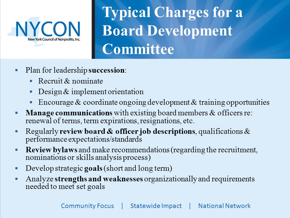 Community Focus | Statewide Impact | National Network Typical Charges for a Board Development Committee  Plan for leadership succession:  Recruit & nominate  Design & implement orientation  Encourage & coordinate ongoing development & training opportunities  Manage communications with existing board members & officers re: renewal of terms, term expirations, resignations, etc.