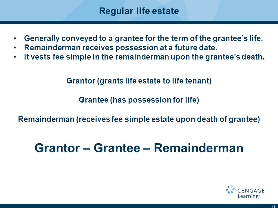 11 Regular life estate Generally conveyed to a grantee for the term of the grantee's life.