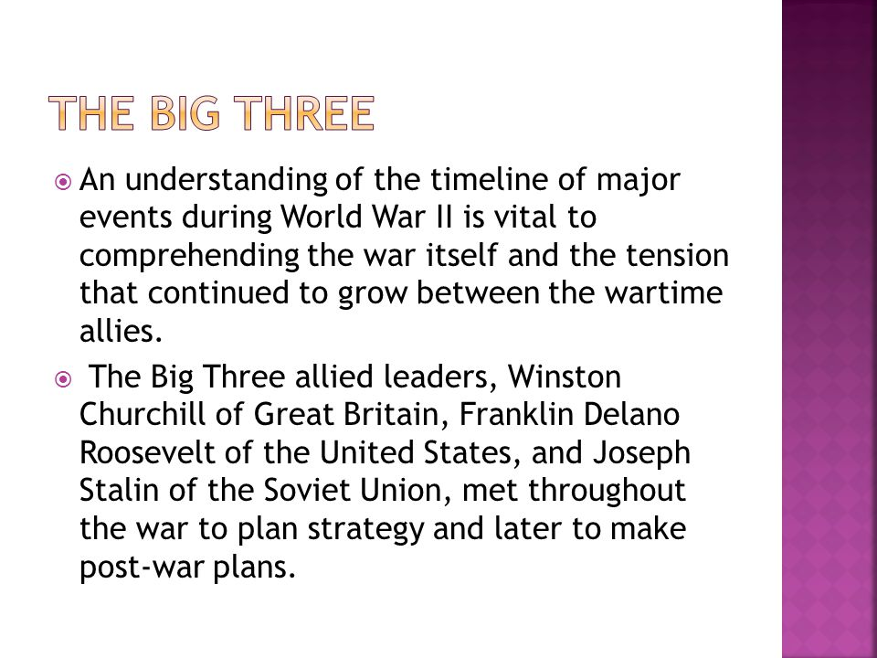  An understanding of the timeline of major events during World War II is vital to comprehending the war itself and the tension that continued to grow