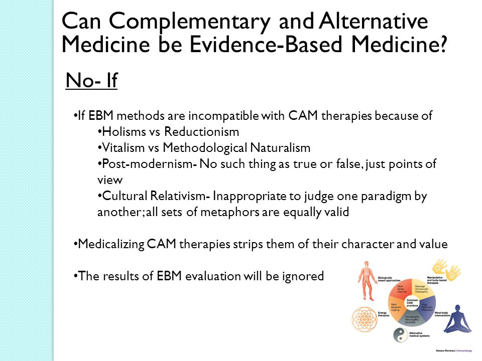 Can Complementary and Alternative Medicine be Evidence-Based Medicine.