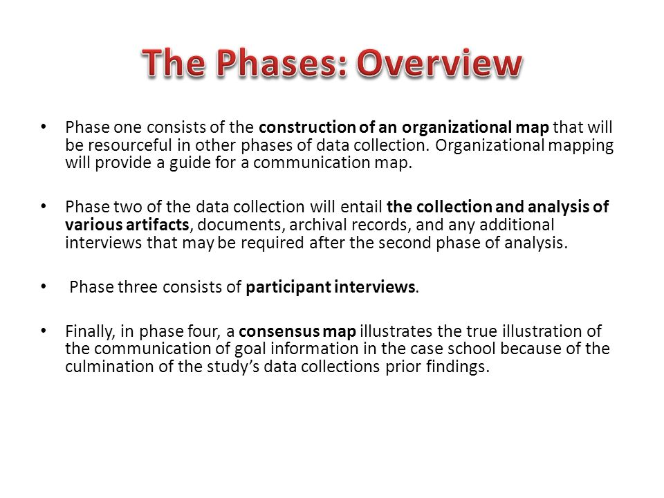 Phase one consists of the construction of an organizational map that will be resourceful in other phases of data collection. Organizational mapping wi