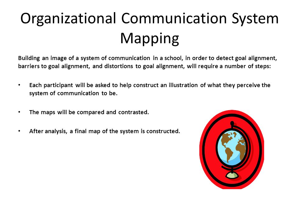 Organizational Communication System Mapping Building an image of a system of communication in a school, in order to detect goal alignment, barriers to goal alignment, and distortions to goal alignment, will require a number of steps: Each participant will be asked to help construct an illustration of what they perceive the system of communication to be.
