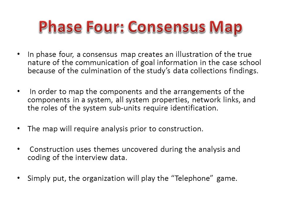 In phase four, a consensus map creates an illustration of the true nature of the communication of goal information in the case school because of the c