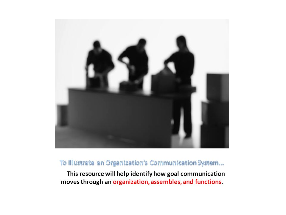 This resource will help identify how goal communication moves through an organization, assembles, and functions.