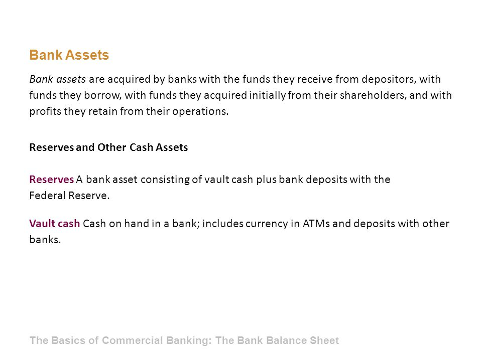 Bank Assets Reserves and Other Cash Assets Reserves A bank asset consisting of vault cash plus bank deposits with the Federal Reserve. Vault cash Cash