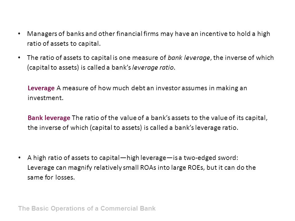 Leverage A measure of how much debt an investor assumes in making an investment. Bank leverage The ratio of the value of a bank's assets to the value
