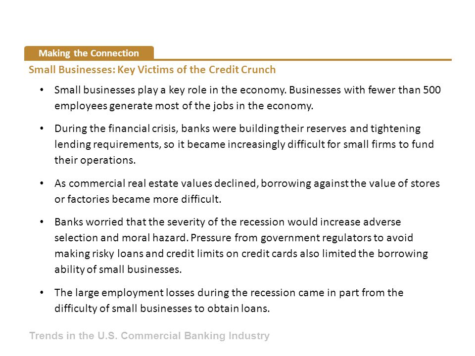 Making the Connection Small Businesses: Key Victims of the Credit Crunch Small businesses play a key role in the economy. Businesses with fewer than 5