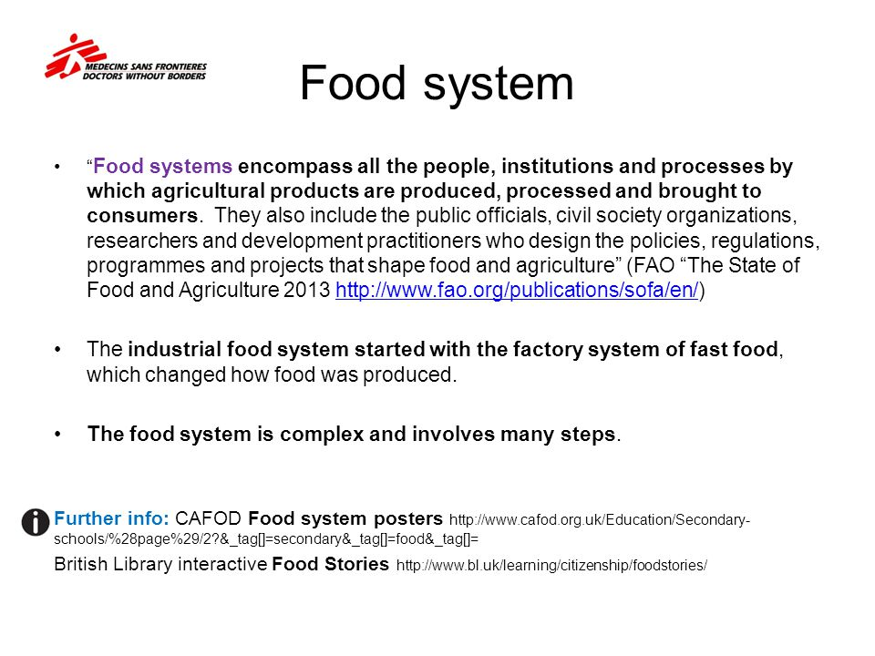 Food supply factors Action for students: Using Sub-Saharan Africa as an example 1.Read the report on the region http://www.afhdr.org/AfHDR/documents/chapter2.pdf http://www.afhdr.org/AfHDR/documents/chapter2.pdf and refer to the World Food Programme Global Security Updates and country updates http://www.wfp.org/content/global-update-food-security-monitoring 2.Prepare a slide that explains food supply factors, human and physical, to a fellow student.
