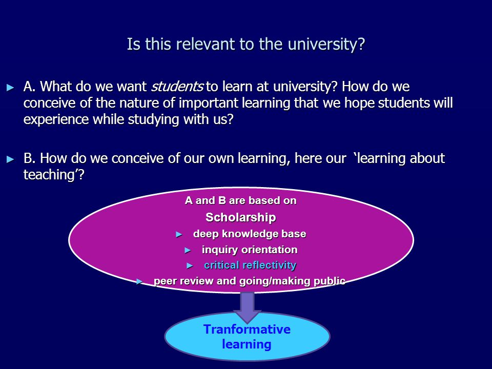 Tranformative learning Is this relevant to the university.