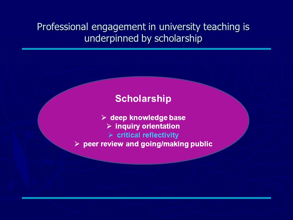 Professional engagement in university teaching is underpinned by scholarship Scholarship  deep knowledge base  inquiry orientation  critical reflectivity  peer review and going/making public