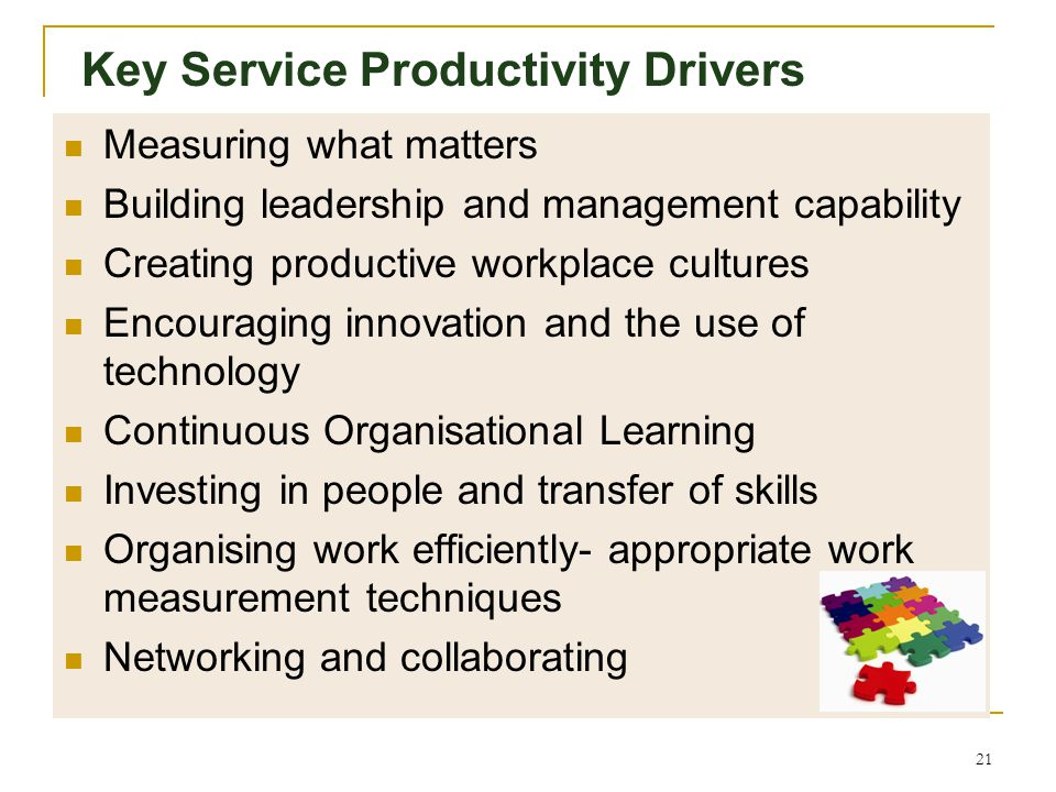 Multi-factors impacting on Productivity 20 PUBLIC SERVICE PRODUCTIVITY Reliability, Responsiveness, Durability and Utilitarian Value of service Cost a