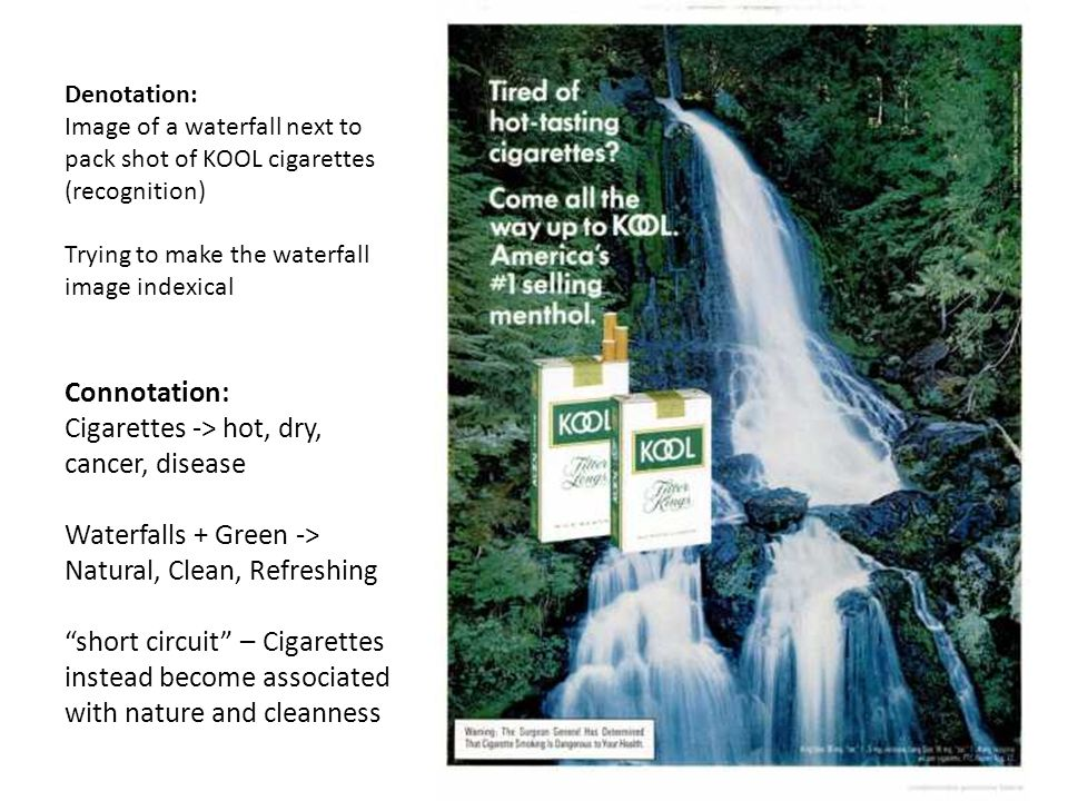 Denotation: Image of a waterfall next to pack shot of KOOL cigarettes (recognition) Trying to make the waterfall image indexical Connotation: Cigarettes -> hot, dry, cancer, disease Waterfalls + Green -> Natural, Clean, Refreshing short circuit – Cigarettes instead become associated with nature and cleanness